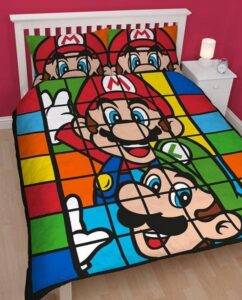 Parure copripiumino matrimoniale reversibile Mario e Luigi