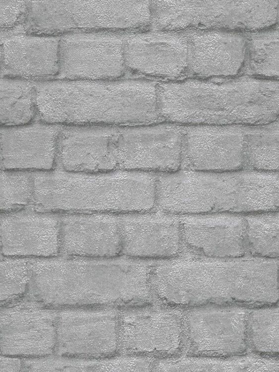Carta da parati Mattoncini grigio argento 10mt