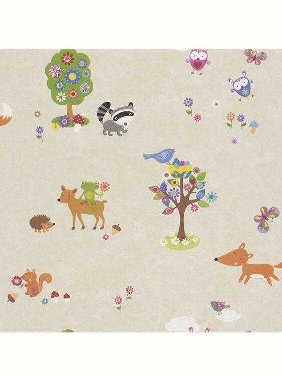 Carta da parati Animali del Bosco 10mt -beige-