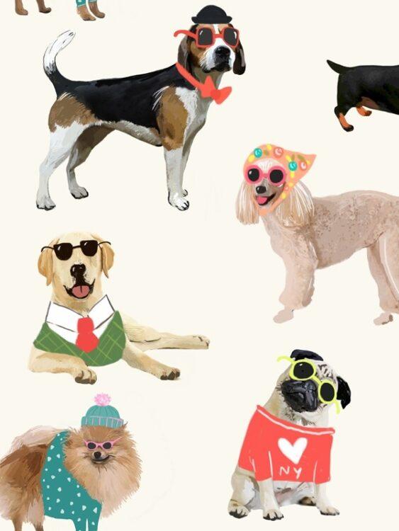 """Carta da parati """"Cani con gli occhiali"""""""