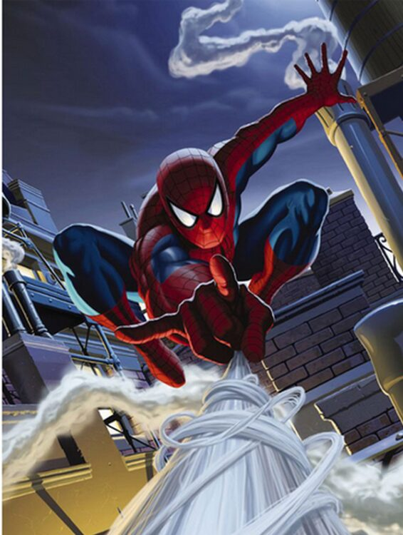 Fotomurale Spiderman sui tetti 127cm x 184cm