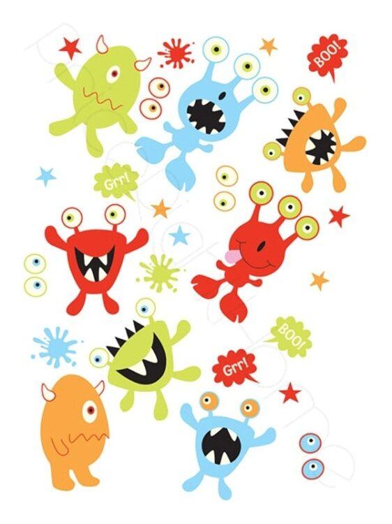 Adesivi da parete fosforescenti Monsters 27 pezzi