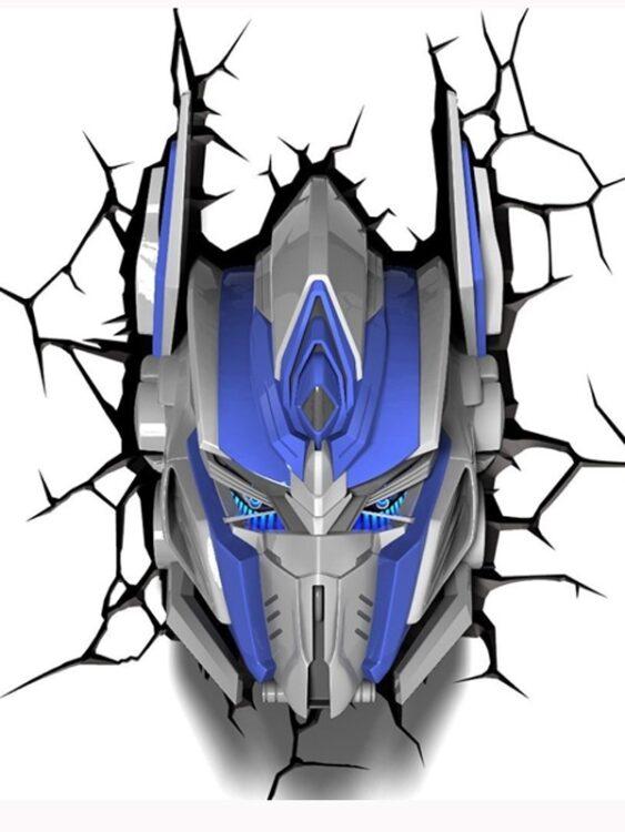 Luce da parete 3D a LED Transformers Optimus Prime