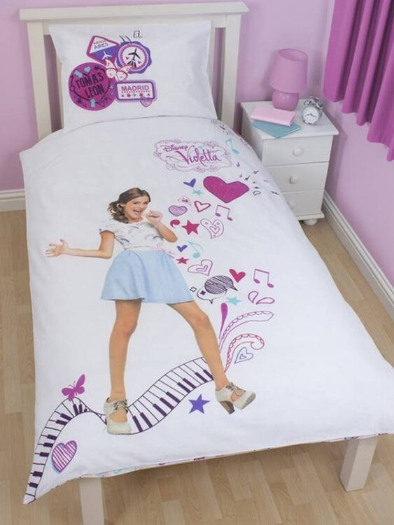 "Parure copripiumino singolo reversibile Violetta Disney ""Madrid"""