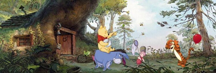 Fotomurale Winnie The Pooh 'Casetta nel bosco' 368cm x 127cm