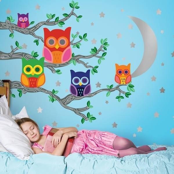 Stickers murali Gufi colorati 142pz