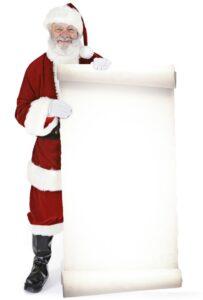 Babbo Natale con un grande cartello sagoma 180 cm H