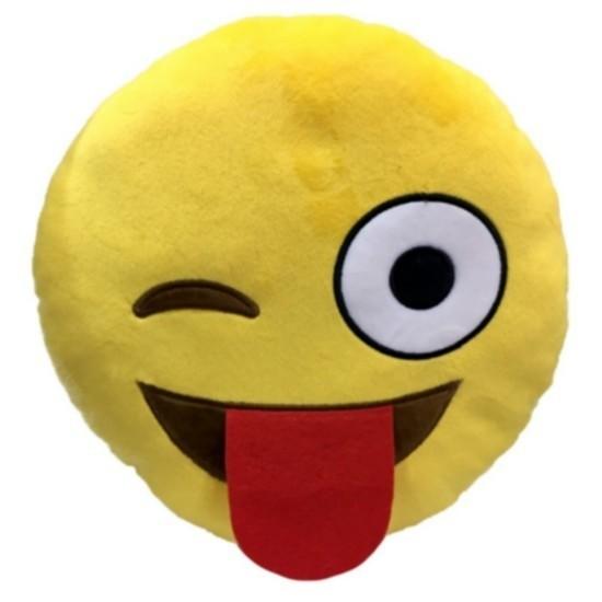 """Cuscino peluche Emoji """"Occhiolino e linguaccia"""""""