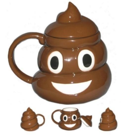 """Tazza Emoji """"Cacca sorridente"""" con coperchio"""