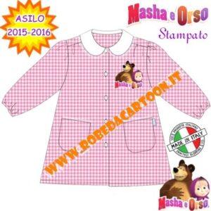 Grembiule asilo Masha e Orso quadretti rosa