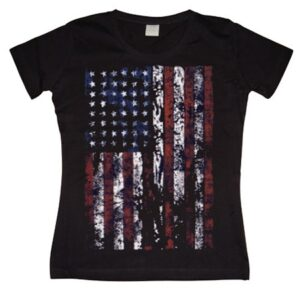 Distressed USA Flag Girly T- shirt