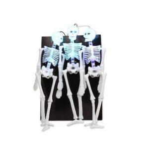 Decorazione 3 scheletri luminosi Halloween
