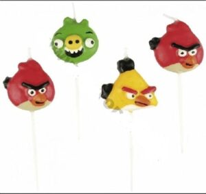 Confezione 4 candeline Angry Birds