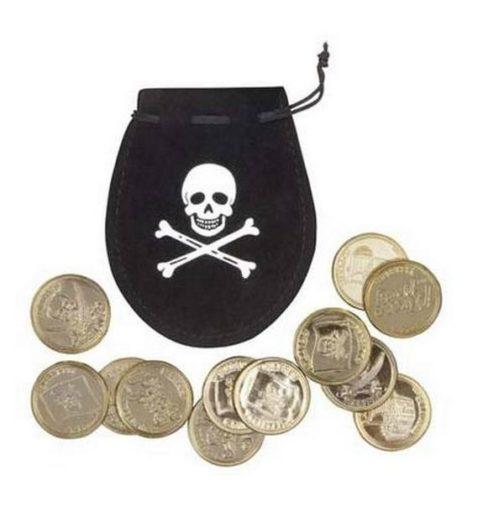 Sacchetto in tessuto con monete Pirati