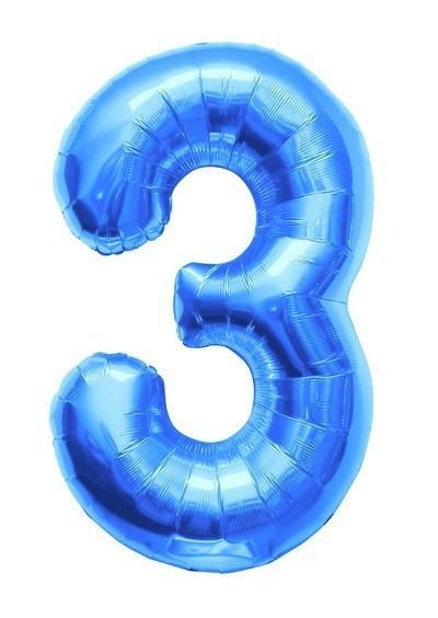 Maxi Palloncino mylar Numero 3 Azzurro 86 cm