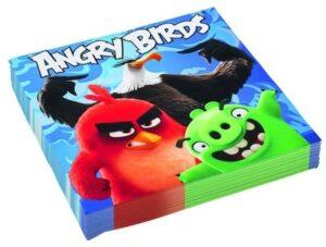 Confezione 16 tovaglioli festa a tema Angry Birds Movie.