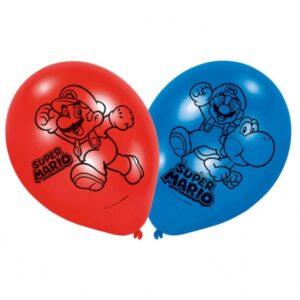 Confezione 6 palloncini in lattice Super Mario