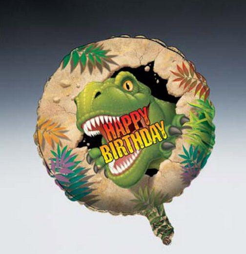 Palloncino tondo Happy Birthday Dinosauro