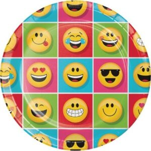 Confezione 8 piatti in cartoncino Emoji