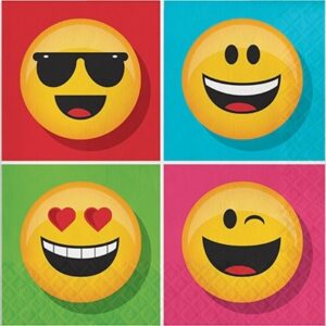 Confezione 16 tovaglioli festa a tema Emoji