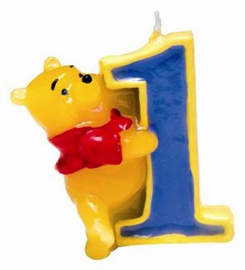 Candelina sagomata numero 1 Winnie The Pooh