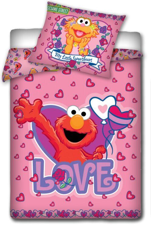 Parure copripiumino lettino con sponde rosa Elmo Sesame Street