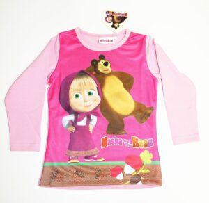 Maglietta manica lunga Masha e Orso maniche rosa