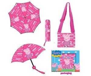 Set Ombrello con fodero e borsetta Peppa Pig Heart