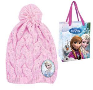 Berretto in maglia a treccia con bustina regalo Disney Frozen