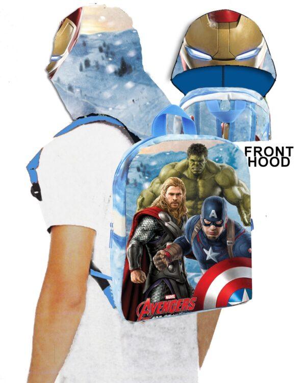 Zainetto asilo Marvel Avengers Power con cappuccio impermeabile