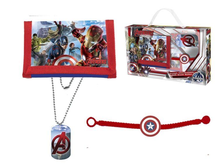 Set regalo portafogli, collana e braccialetto Marvel Avengers