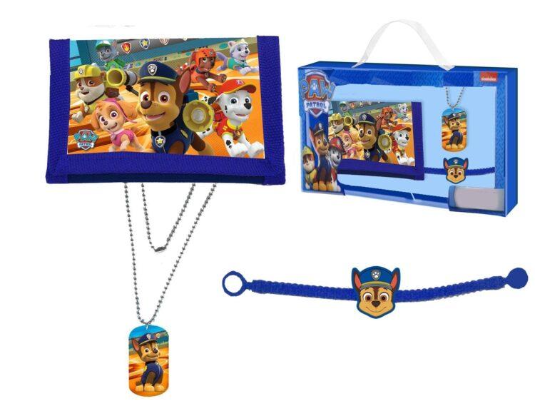Set regalo portafogli, collana e braccialetto Paw Patrol