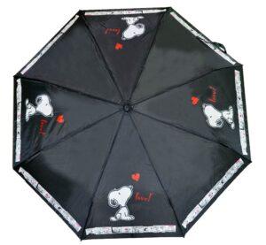 Ombrello pieghevole nero con fodero Snoopy