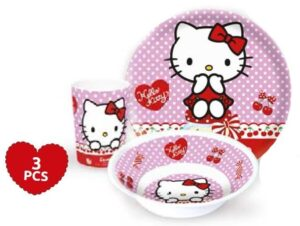Set tavola melamina 3 pezzi Hello Kitty