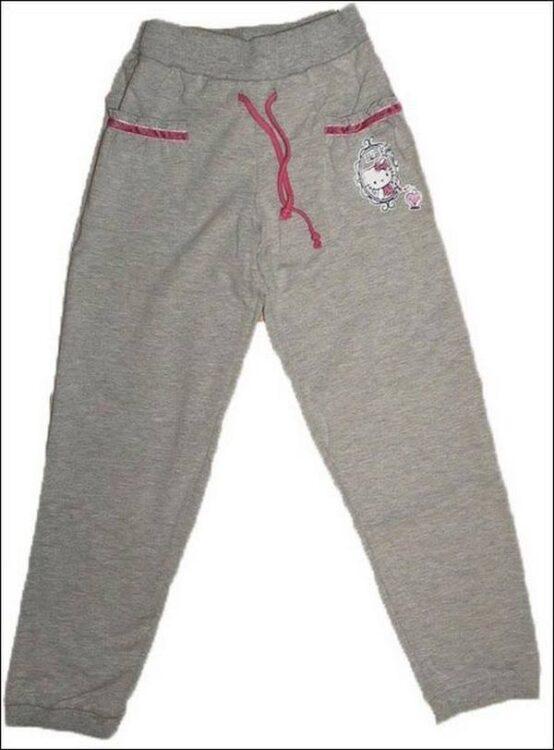 Pantalone felpato grigio melange Hello Kitty
