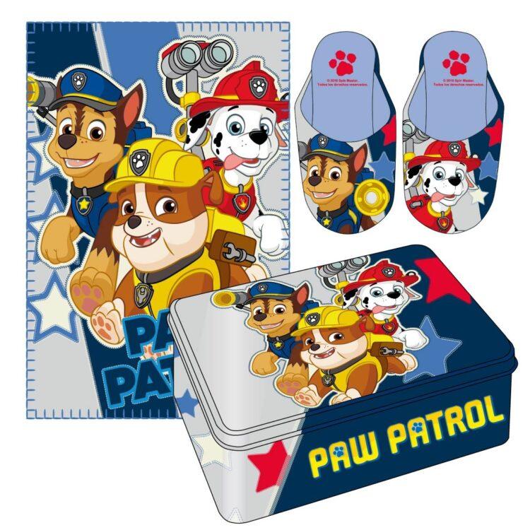 Set Paw Patrol Copertina, Pantofole e Scatola di latta