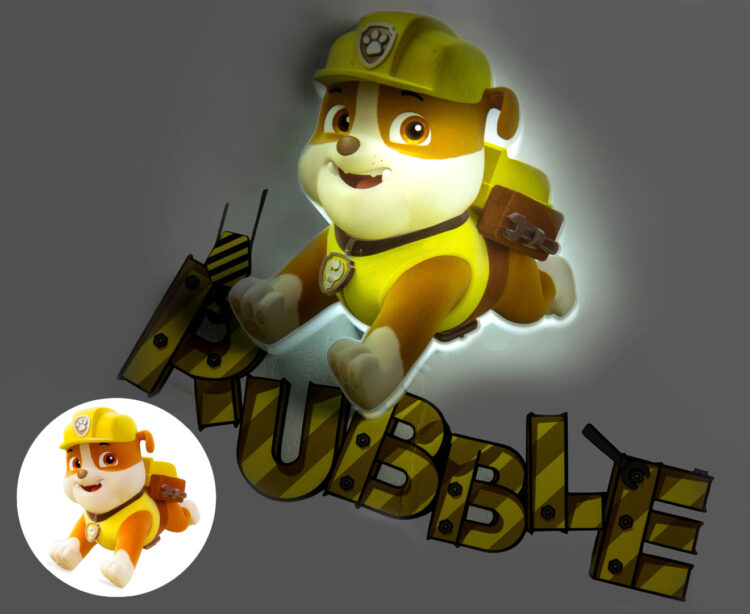 Mini-Luce da parete 3D a LED Paw Patrol Rubble