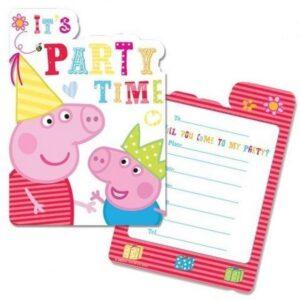 Confezione 6 inviti festa Peppa Pig New Design!