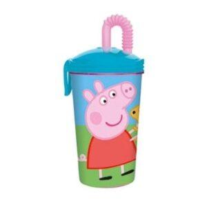 Bicchiere grande con cannuccia Peppa Pig