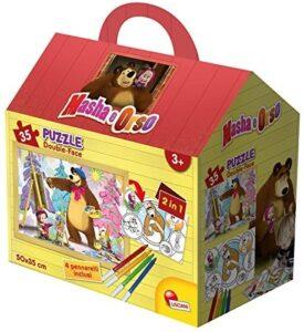 Masha e Orso Puzzle Casetta con Pennarelli 35 Pezzi