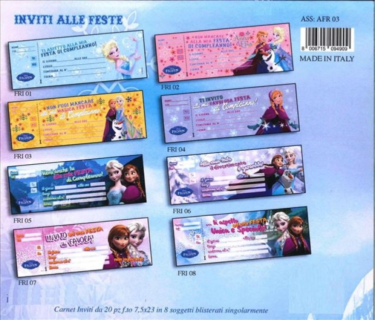 Carnet inviti festa Disney Frozen -Personaggio B