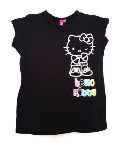 T-shirt elasticizzata nera Hello Kitty