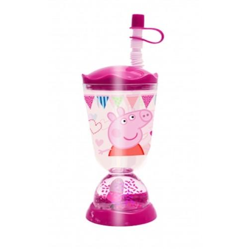 Bicchiere con cannuccia e personaggio Peppa Pig