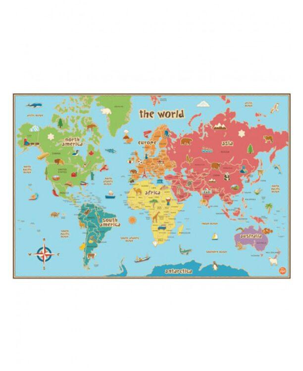 Mappa del Mondo adesiva laminata con penna