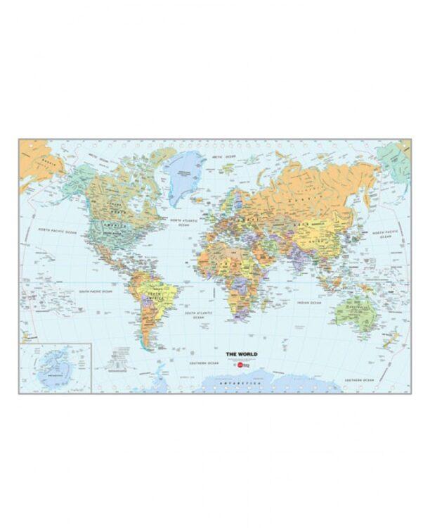 Mappa del Mondo adesiva con penna cancellabile