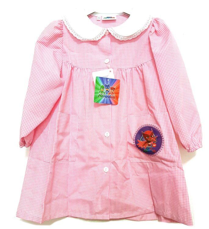 Super Pigiamini Grembiule asilo Gufetta quadrettato rosa