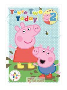 Biglietto Auguri Peppa Pig 2 anni con badge