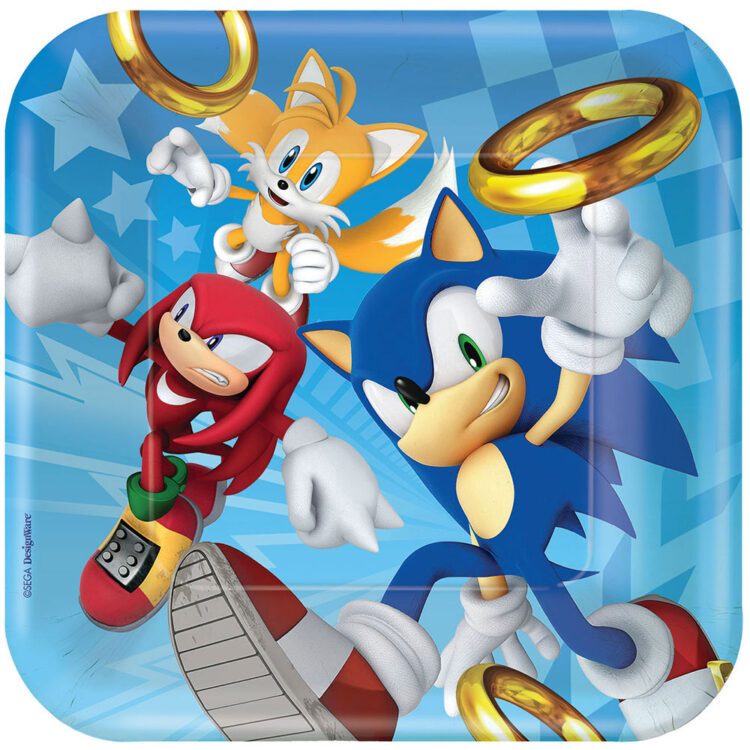 Piatti quadrati festa a tema Sonic