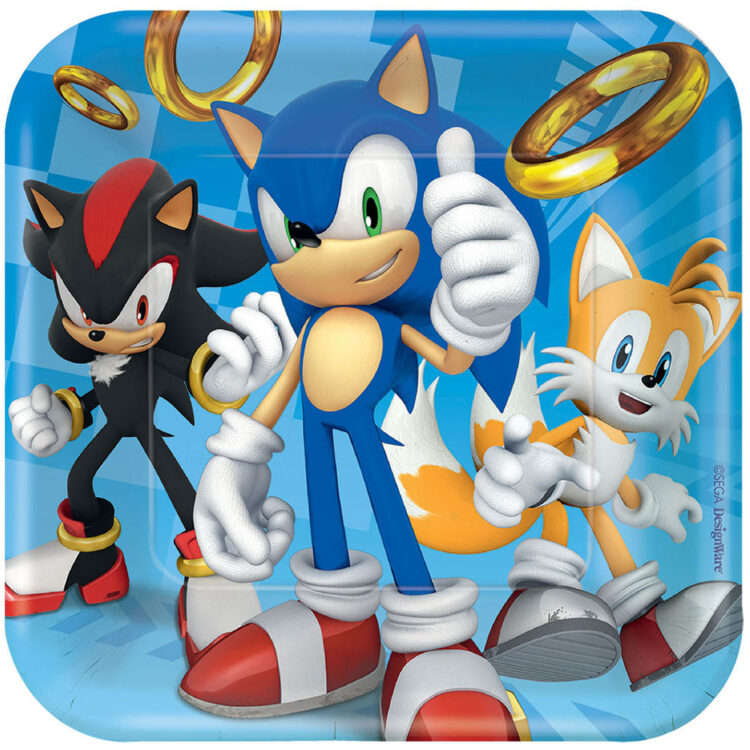 Piatti quadrati torta festa a tema Sonic
