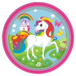 Confezione 8 piatti festa a tema Unicorni